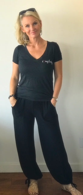I Love My Body - Black V-Neck Longer Fit