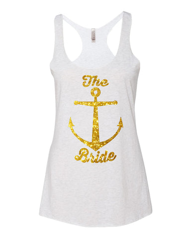 Bride Tank Top in Gold Glitter with Anchor Design