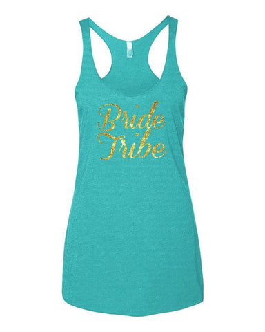 Bride Tribe Gold Glitter Teal Bachelorette Tank Top