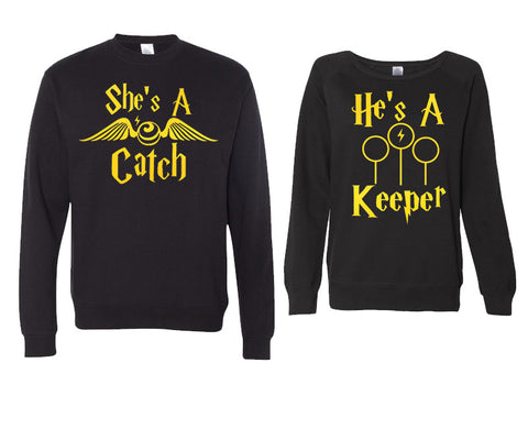 She's a Catch and He's a Keeper Couples Sweaters