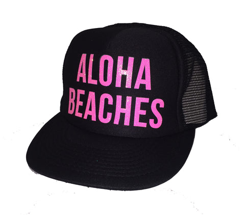 Aloha Beaches Pink Glitter Trucker Hats
