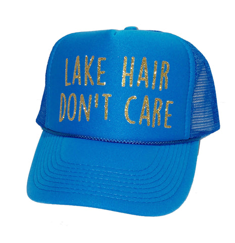 Lake Hair Don't Care Glitter Trucker Hat