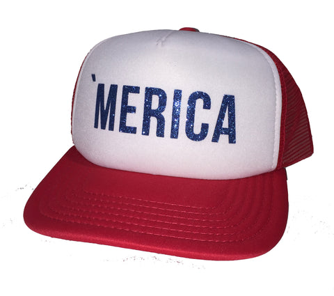 'Merica Red White And Blue Glitter Trucker Hat