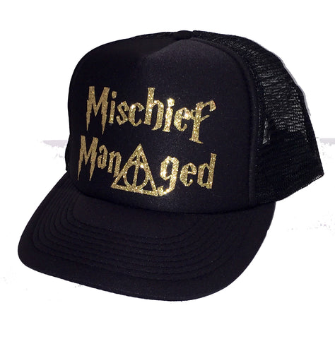 Mischief Managed Glitter Trucker Hat