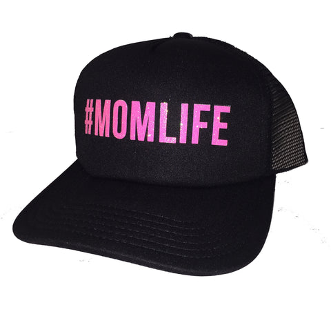 #MOMLIFE Mom Life Pink Glitter Trucker Hats