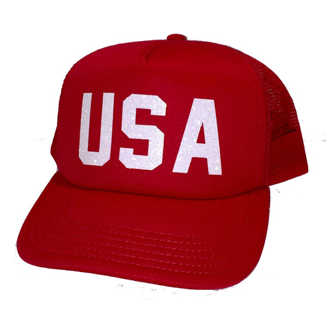 USA Glitter Trucker Hats