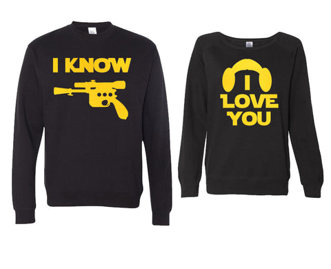 I Love You, I Know Couples Sweaters with Gold Print