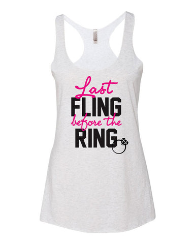Last Fling Before The Ring Bachelorette Party Tank Tops
