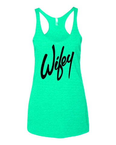 Wifey Bachelorette or Bridal Tank Top with Script Font