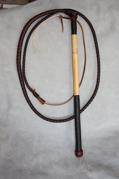 4 Strand Stockwhip with Half Plait Handle.