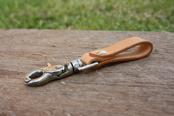 Leather Belt Key Fob with Clip