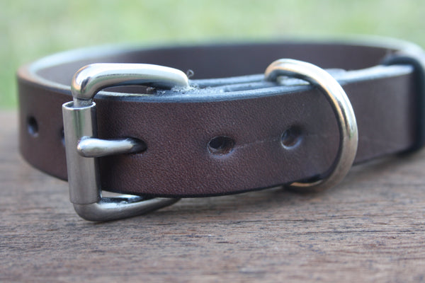 Dog Collar in Rich Brown with Stainless Steel Hardware