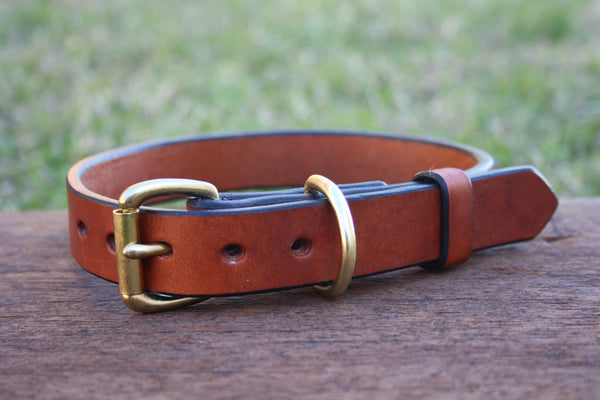 Dog Collar in London Tan with Solid Brass Hardware