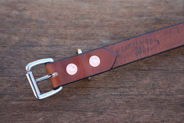 Dog Collar in London Tan with Stainless Steel Hardware