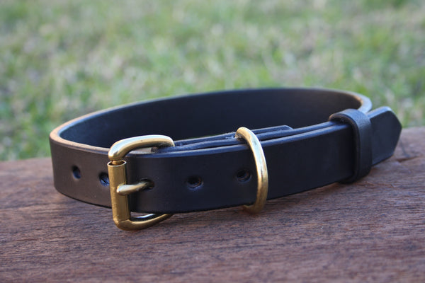 Dog Collar in Black with Solid Brass Hardware