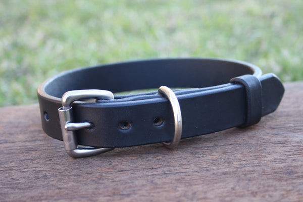 Dog Collar in Black with Stainless Steel Hardware