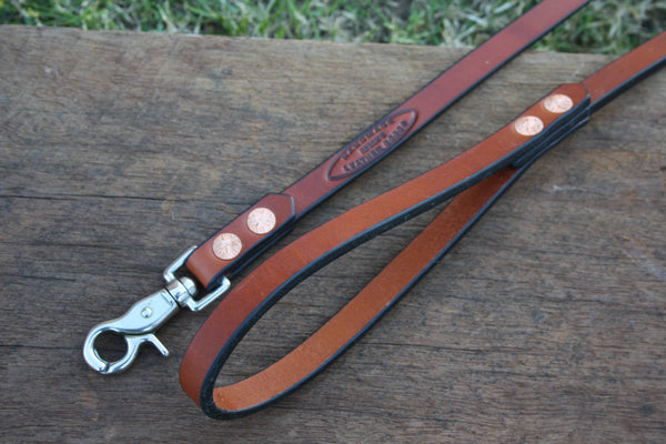 Dog Lead in London Tan with Stainless Steel Hardware