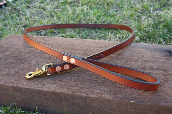 Dog Lead in London Tan with Solid Brass Hardware