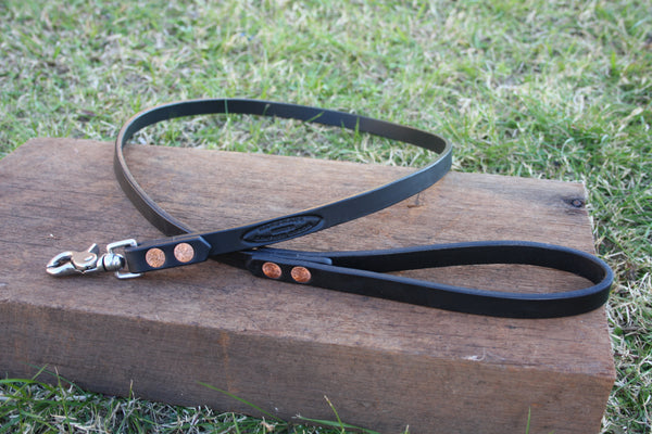 Dog Lead in Black with Stainless Steel Hardware