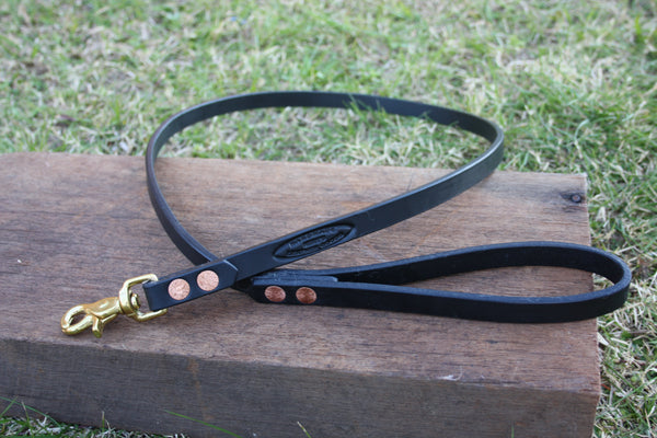 Dog Lead in Black with Solid Brass Hardware