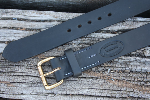 Solid Brass Roller Buckle Bridle Leather Belt