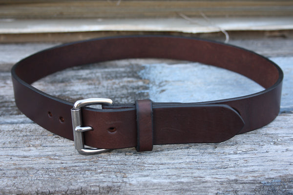 Stainless Steel Roller Buckle Bridle Leather Belt