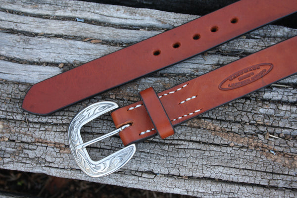 Stainless Steel Round Engraved Bridle Leather Belt