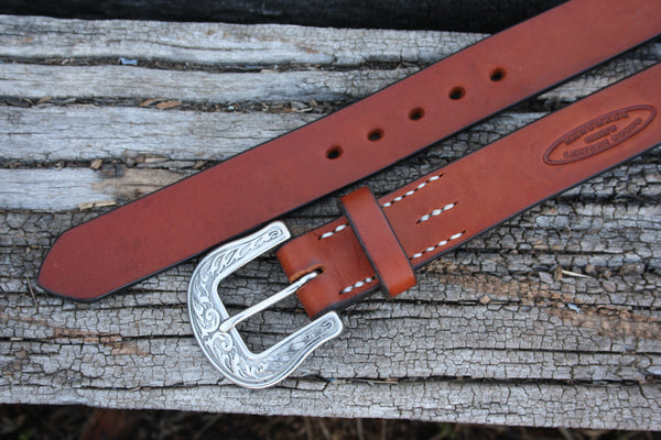 Stainless Steel Engraved Bridle Leather Belt
