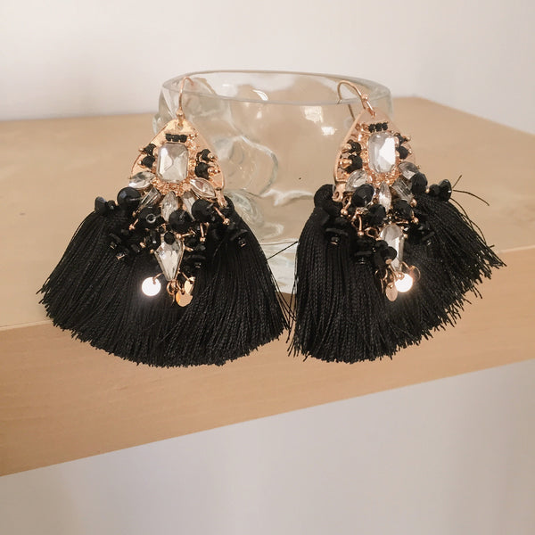Arabella Tassel Earrings Black | Fashion Backroom