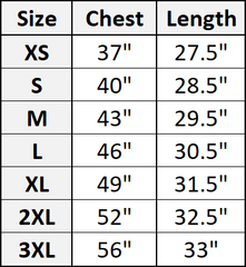 nomad complex size chart t-shirts