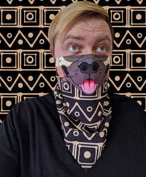 bandanimal nomad complex akita tan gold black dog face mask cover covid