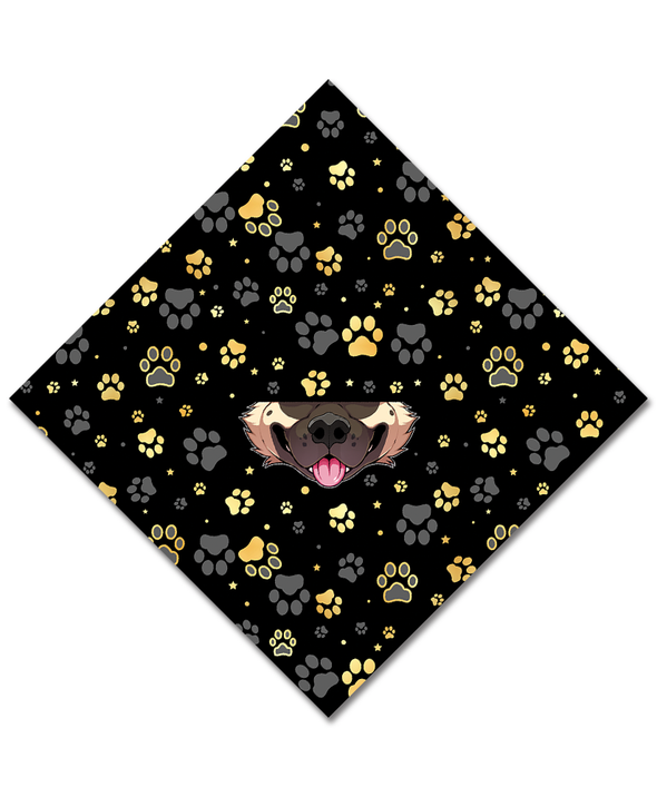 bandanimal nomad complex akita gold paws black dog face mask cover covid