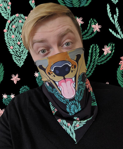 bandanimal nomad complex face mask covid covering bandana cactus dog canine furry apparel