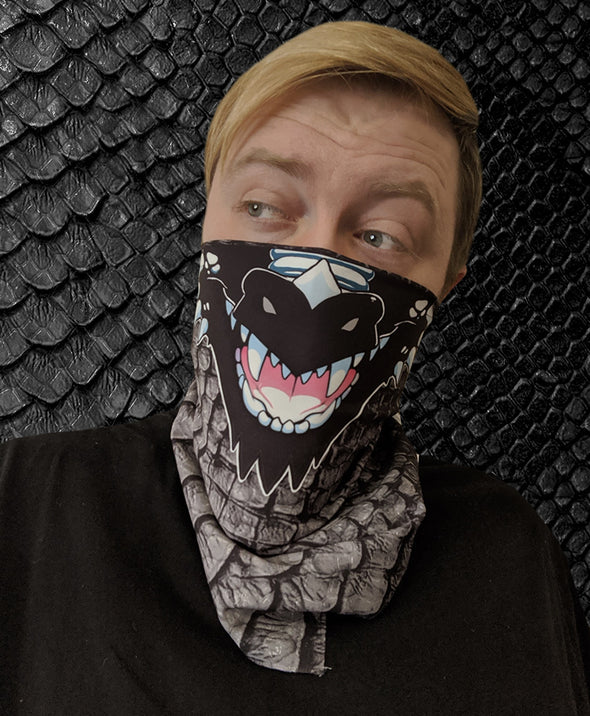 bandanimal nomad complex mask face cover covid dragon black scales furry apparel