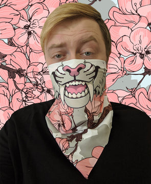 bandanimal nomad complex face mask cover covid sabertooth cherry blossom furry apparel bandana pink white