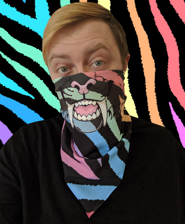 bandanimal nomad complex face mask cover covid sabertooth furry apparel bandana rainbow stripes zebra furry apparel bandana