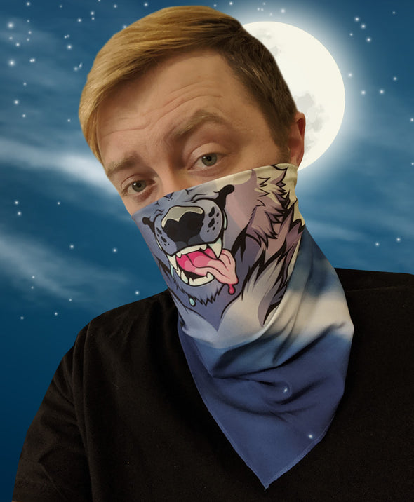 bandanimal nomad complex face mask cover covid werewolf full moon bandana blue furry apparel