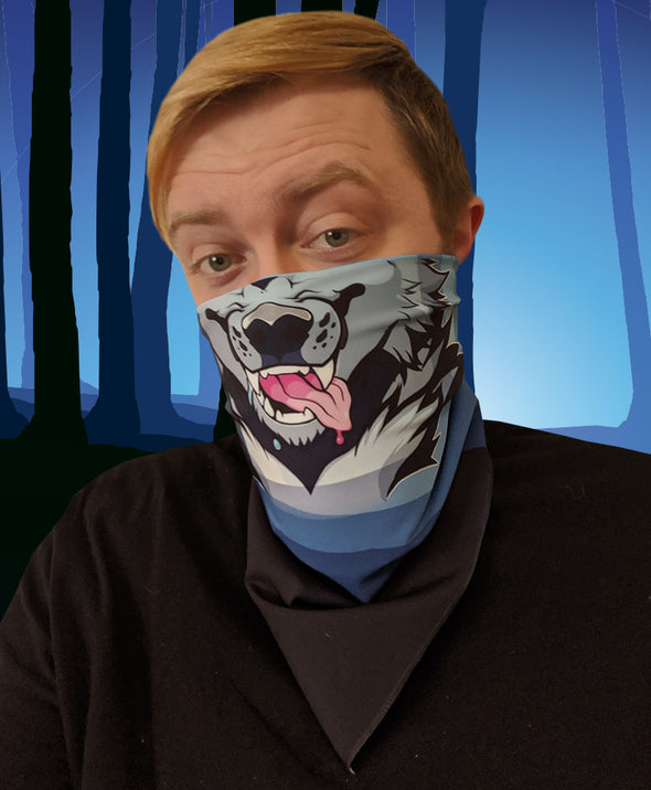 bandanimal nomad complex face mask cover covid werewolf forest blue trees furry apparel bandana