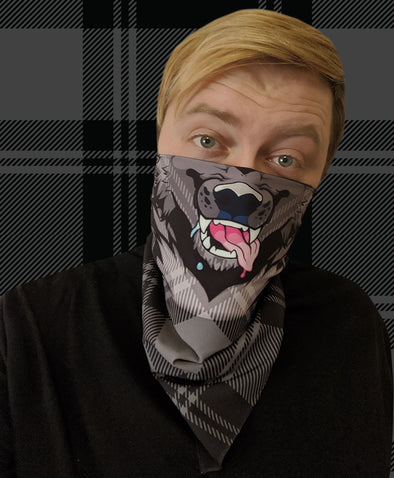 bandanimal nomad complex face mask cover covid werewolf bandana furry apparel black plaid bandana