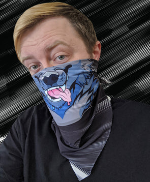 bandanimal nomad complex face mask cover covid werewolf static black white noise furry apparel bandana