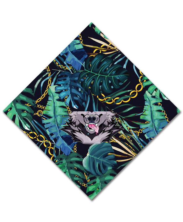 bandanimal nomad complex face mask cover covid werewolf tropical chain palm leaves furry apparel bandana