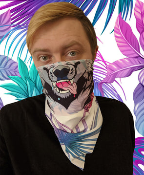 bandanimal nomad complex face mask cover covid werewolf vaporwave pink blue pineapple furry apparel bandana