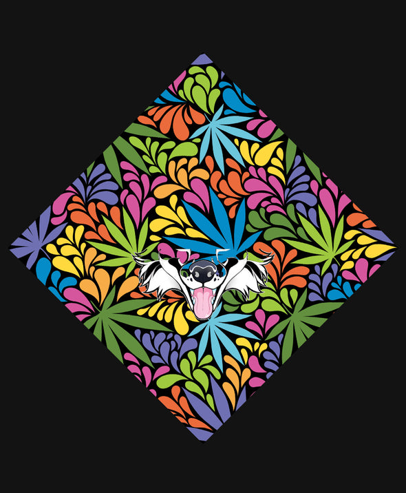nomad complex psycho marijuana pot leaf cmyk bandanimal bandana animal face vancouver polyester colorful breathable apparel accessories