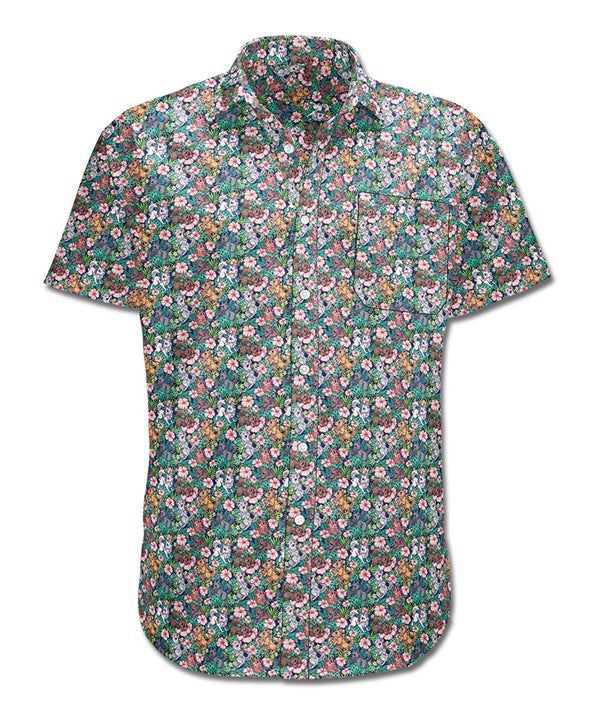Canis Hibiscus - Button-up T-Shirt