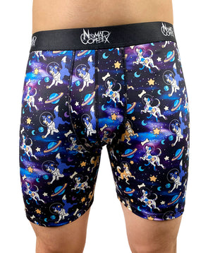 underwear boxer briefs nomad complex dogs space astronaut cosmos purple blue stars galaxy undies meundies furry apparel fursona wolf