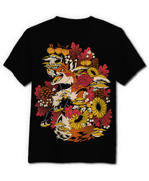 nomad complex fox fall mushroom flower black tshirt cotton apparel crew cut vancouver