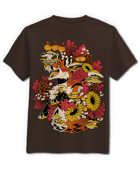 nomad complex fox fall mushroom flower brown tshirt cotton apparel crew cut vancouver