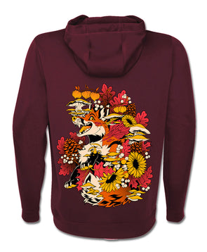 nomad complex fall feels fox mushroom autumn maroon hoodie vancouver