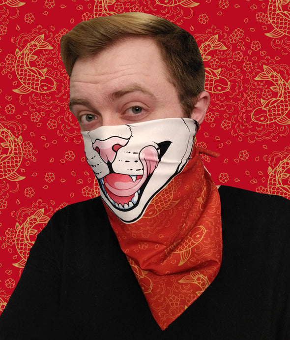nomad complex feline cat red koi bandanimal bandana animal face vancouver polyester colorful breathable apparel accessories