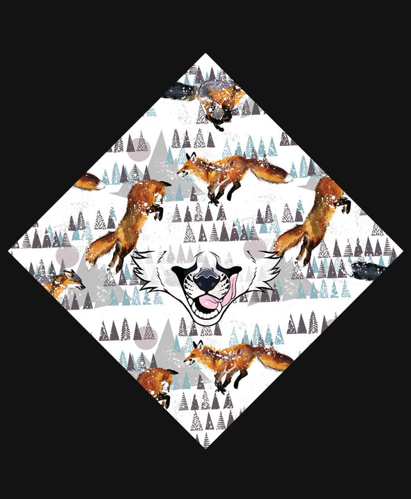 nomad complex fox snowy leap white bandanimal bandana animal face vancouver polyester colorful breathable apparel accessories